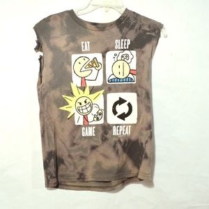 Gamer Altered Shirt Tie Dye Distressed Small Gray